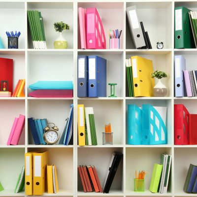 Colorful Items on the Shelves for the Resource Library