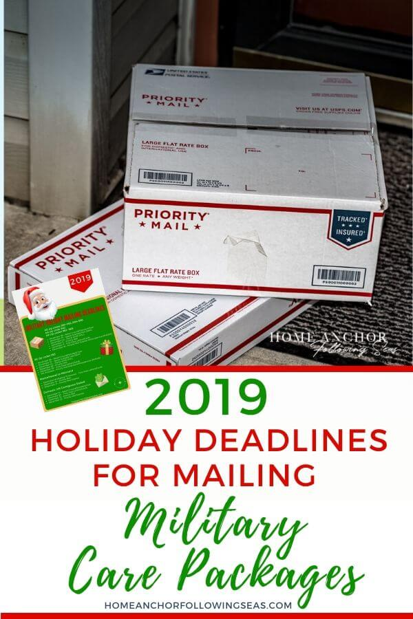 2019 Holiday Military Mailing Deadlines